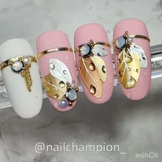 Nude Nails, Gem Nails, Pink Nails, Acrylic Nails, Nail Art Designs Videos, Nail Art Videos, Nail Designs, Nail Art Noel, Fall Nail Art