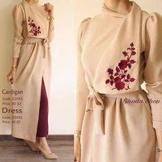 Asymmetrical champagne dress with maroon embroidery, feminine lady muslimah hija. Asymmetrical champagne dress with maroon embroidery, feminine lady muslimah hijab modest outfit Hijab Casual, Hijab Outfit, Hijab Style, Ootd Hijab, Modesty Fashion, Abaya Fashion, Muslim Fashion, Ethnic Fashion, Retro Fashion
