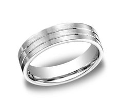Benchmark 6 MM 10K White Gold Comfort Fit Carved Mens Wedding Band With Satin Finish