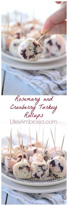 Rosemary and Cranberry Turkey Rollups are a perfect and easy holiday appetizer loaded with deli turkey, cream cheese, cranberries and rosemary.