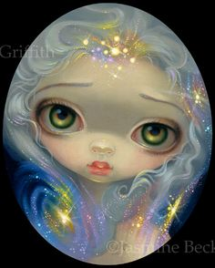 Stardust Angel - space fairy - big eye art by Jasmine Becket-Griffith - strangeling - big eyed art - stardust art - Eight and Sand Gallery Seattle - star