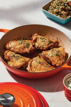 Fragrant Braised Chicken Thighs - Cooked in a Le Creuset enameled cast iron Braiser in Flame Canned Corn Recipes, Vegetable Recipes, Vegetarian Recipes, Healthy Recipes, Recipes Using Rotisserie Chicken, Chicken Thigh Recipes, Braiser Recipes, Skillet Recipes, Recipes Without Fire