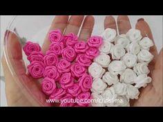 Kanzashi Flowers, Felt Flowers, Diy Flowers, Fabric Flowers, Paper Flowers, Ribbon Art, Diy Ribbon, Ribbon Crafts, Flower Crafts