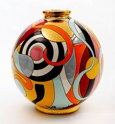 """Vase """"Vie Intérieure"""" - Emaux de Longwy (France)"""