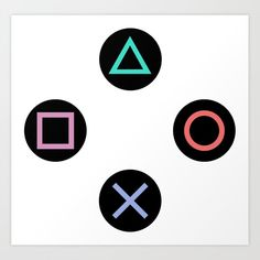 Play with Playstation Controller Buttons Art Print by xooxoo Playstation, The Legend Of Zelda, Game Boy, Last Minute Birthday Gifts, Silicone Coasters, Cake Templates, Game Storage, Nintendo, Video Game Party