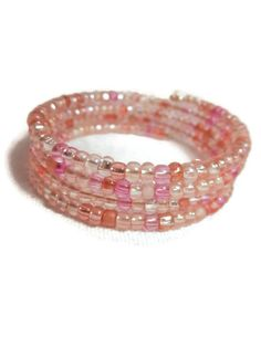 Pink Glass Seed Bead Coil Cuff Bracelet, $14
