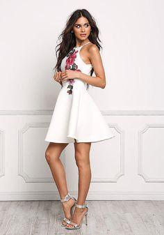 Ivory Rose Applique Flared Dress - Dresses