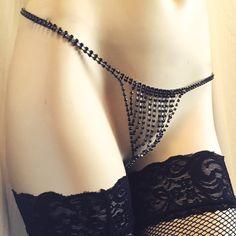 Black Rhinestone lingerie g string thong by Spoilmeinrhinestones