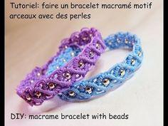 Tutoriel: faire un bracelet macramé arceaux perlé (DIY macrame bracelet with beads) - YouTube