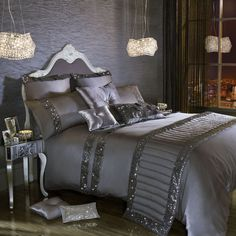 Kylie Minogue OCTAVIA Grey Bedding / Bed Linen Range Great glitzy bedding and pillows Mirrored nightstands Bed Sets, Duvet Bedding, Linen Bedding, Bed Linens, King Comforter, Boho Bedding, Comforter Sets, Sequin Bedding, Floral Bedding