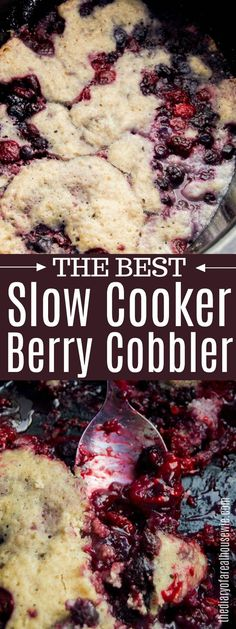 Crockpot dessert recipes - This Slow Cooker Berry Cobbler is loaded with three different types of berries and all made right in the slow cooker Topped with ice cream or whipped cream it is the perfect dessert slowcooker cob Slow Cooker Desserts, Crockpot Dessert Recipes, Crock Pot Desserts, Gourmet Recipes, Slow Cooker Cake, Crockpot Dishes, Camping Recipes, Brunch Recipes, Berry Cobbler