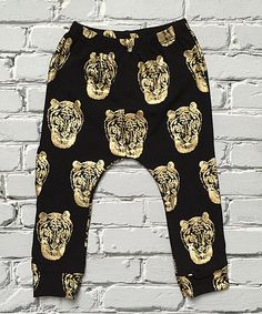 Look at this Little Mr. Hipster Black & Gold Tiger Harem Pants - Infant & Toddler on #zulily today!