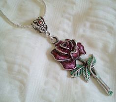 Handpainted Tibetan Silver Single Rose Pendant Necklace Free Shipping by PersnicketyPatty on Etsy