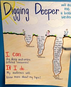 "Class motto ""dig deep"" when writing to improve writing and to make it more interesting"