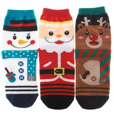 Christmas Xmas X Mas Set of 3 Ankle Socks Santa Snowman Reindeer Ugly Sweater Party Reindeer Ugly Sweater, Ugly Sweater Party, Ugly Christmas Sweater, Santa Socks, Kids Socks, Cotton Socks, Cute Characters, Christmas Design, Ankle Socks