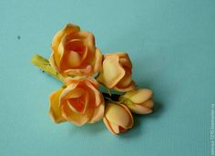"""Купить Заколка - зажим """"Фрезия"""" - разноцветный, фоамиран, цветы из фоамирана, пластичная замша, фрезия"""