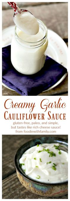 White cheese pizza or pasta sauce! Creamy Garlic Cauliflower Sauce is gluten-free, paleo, and vegan but tastes like rich cheese sauce. It is made easily in your blender. Dairy Free Recipes, Low Carb Recipes, Whole Food Recipes, Vegan Recipes, Cooking Recipes, Pizza Recipes, Whole30 Recipes, Recipes Dinner, Chicken Recipes