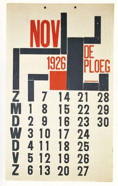 H.N. Werkman - Calendar page for De Ploeg (Art collective of Groningen), 1927