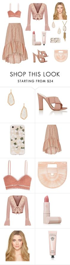 """""""Nude Knows"""" by scolab ❤ liked on Polyvore featuring Kendra Scott, Gianvito Rossi, Sonix, LoveShackFancy, Zimmermann, Cult Gaia, WearAll, Lipstick Queen and Bobbi Brown Cosmetics"""