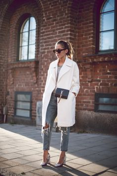 Kenza Zouiten_White Coat + Ripped Jeans + Saint Laurent Bag http://FashionCognoscente.blogspot.com