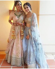This stunning bride with her baby pink lehenga looks so dreamy! It's be a dream come true getting this look on ths most special day of your life! The bridesmaid's outfit is on point too! Indian Bridal Wear, Indian Wedding Outfits, Indian Wear, Indian Outfits, Indian Weddings, Indian Clothes, Indian Bridal Party, Bride Indian, Red Lehenga