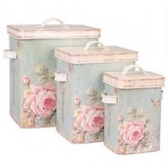 Set of 3 wooden shabby boxes vintage romantic countryside style – Shabby Chic Decor Ideas Blanc Shabby Chic, Cocina Shabby Chic, Shabby Chic Vintage, Shabby Chic Kitchen, Vintage Tins, Shabby Chic Style, Chabby Chic, Vintage Storage, Vintage Floral