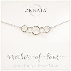 """""""Mother of Four"""" Sterling Silver Necklace 