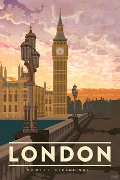 Travel Poster featuring the iconic Big Ben clock tower in London England. The perfect gift for the world traveler. By artist Missy Ames England Travel Poster, London England Travel, London Travel, Posters Decor, Art Deco Posters, Poster Prints, Art Illustration Vintage, London Illustration, Travel Illustration