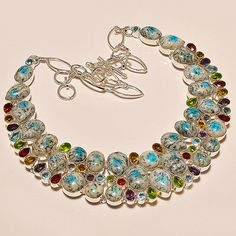 "121 GMS NATURAL K2 CABS,MULTI CUT STONE .925 SILVER OVERLAY NECKLACE 18""P-1629"