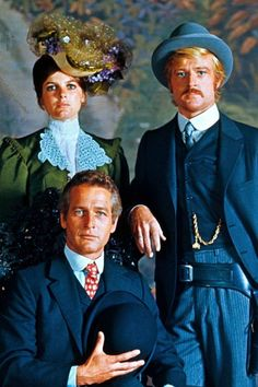"""Two cute men and a cute woman: Robert Redford, Paul Newman and Katharine Ross in """"Butch Cassidy and the Sundance Kid"""" film Robert Redford Movies, Paul Newman Robert Redford, Katherine Ross, Hollywood Stars, Classic Hollywood, Old Hollywood, Sundance Kid, Western Film, Western Movies"""