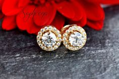 Elegant Solitaire Halo Earring Studs with Round Cut Stones in