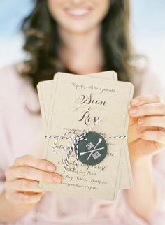 Flowing scrip wedding invites
