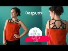DIY: blusa con escote en tiras. - YouTube