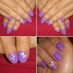 Cambio forma, nail art, fiore strisciato più strass, lilla, primavera\spring