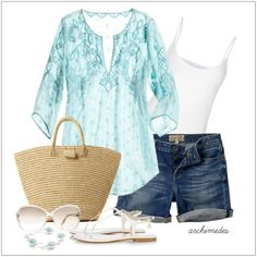 CHATA'S DAILY TIP: This is a perfect casual weekend look – cool and casual, we are in love with denim and tones of blues and whites. Opt for longer shorts if your legs don't allow you to wear short shorts. COPY CREDIT: Chata Romano Image Consultant, Riana Meyer http://chataromano.com/consultant/riana-meyer/ IMAGE CREDIT: Pinterest
