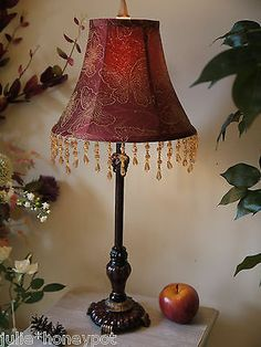 Lamp Vintage Shabby Chic Style Red Beaded Tassel Bedside Table Lamp Hall Small