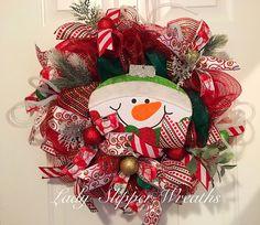 Snowman Deco Mesh Wreath,Holiday Wreath, Deco Mesh Wreath, Festive Wreath, Seasonal Wreath, Christmas Deco Mesh Wreath by LadySlipperWreaths on Etsy
