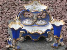 Victorian Inkwell Set. Porcelain. very good condition, no damage.circa1840