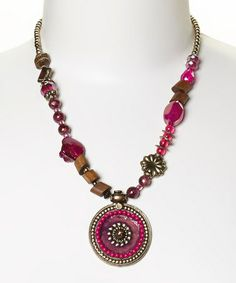 Love this Pink & Gold Bead Pendant Necklace by Treska on #zulily! #zulilyfinds