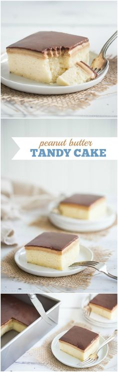 Peanut Butter Tandy Cake (aka Kandy Kake): this took me straight back to my childhood! Even better than the Tastykake original, with soft, butter-y sheet cake, topped with peanut butter and milk chocolate ganache. food desserts cake via Chocolate Desserts, Fun Desserts, Chocolate Ganache, Delicious Desserts, Food Deserts, Choco Chocolate, Chocolate Butter, Chocolate Cheesecake, Sheet Cake Recipes