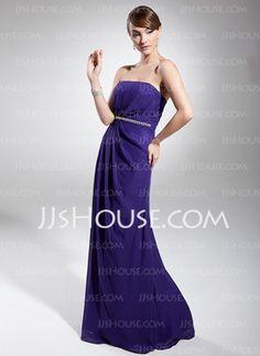 Tubo Sem alça Vestidos longo Chiffon Vestido de festa com Pregueado Bordado (017014732) - JJsHouse