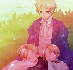 Hetalia ~~~ England with America and Canada. Where is an image like this with Australia, New Zealand, etc.? It would be adorable!