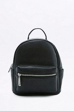 Black Faux-Leather Mini Backpack  smallblackleatherbackpack Small Black  Leather Backpack 7e02327af82d0