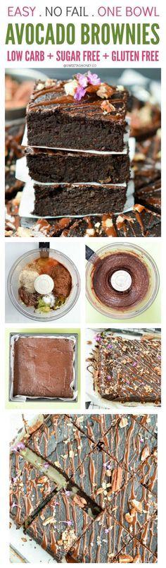 Fudgy Avocado Brownies. Sugar Free + Low Carb + Gluten Free. Easy. No fail one-bowl recipe. Clean eating brownie recipe. Diabetic brownie recipe.