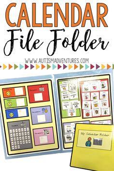 Calendar File Folder- Interactive Activities for Students with Autism Calendar Routine in Special Education classroom or autism program. Perfect for children with special needs Calendar Activities, File Folder Activities, Interactive Activities, Folder Games, Interactive Books, Autism Activities, Life Skills Classroom, Autism Classroom, Special Education Classroom