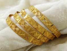 18K Goldplated Traditional Indian #Bangles Set 4PC Bracelet #Jewelry For Women
