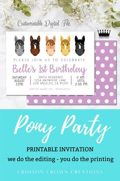 Printable pony invitation. Download and print or send via text/email. Check out our shop for more printable designs! #printableinvitations #birthdayinvitation #digitalinvitation #editableinvitation #birthdayinvite #ponyrideparty #ponyinvitation #ponyparty