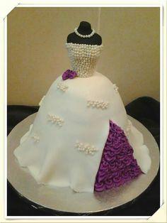 Bridal shower dress cake https://www.facebook.com/roartasticdesserts/