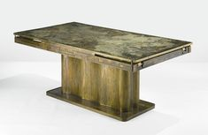 PHILIP AND KELVIN LAVERNE EXTENSION DINING TABLE including two extension leaves (not shown) etched Philip and Kelvin LaVerne acid-etched and enameled patinated brass over pewter and wood 27  1/4  x 71  3/8  x 39  1/2  in. (69.8 x 181.9 x 100.3 cm) as shown circa 1970