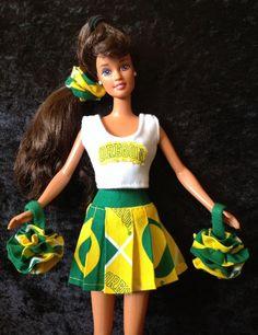 BARBIE U OF O CHEERLEADER UNIFORM University Oregon Ducks USA MADE Fashion Doll
